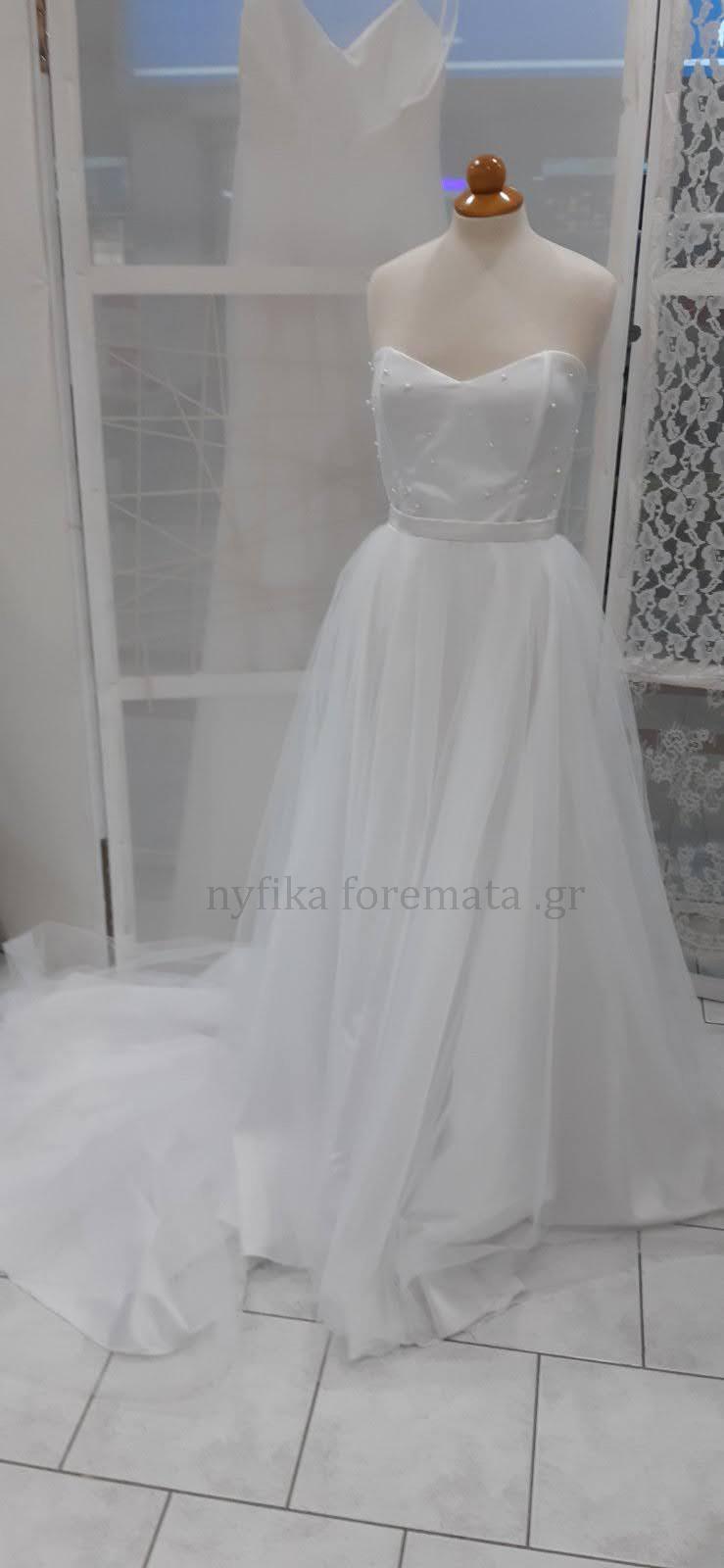 Νυφικό φόρεμα στράπλες τούλι πέρλες